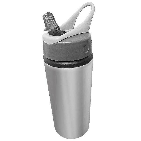 Squeeze Prata 600ml em Alumínio C/bico Retrátil P/Sublimação (B133) - 60 Unidades (Caixa Fechada)