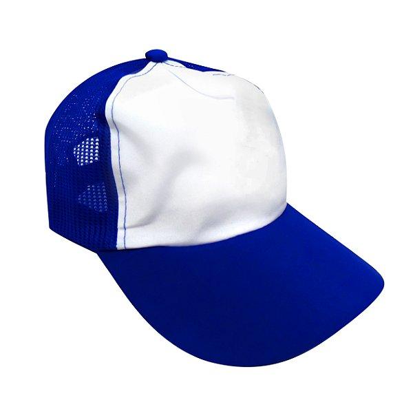 527f333f3b692 Boné Americano Cabeça frente Branca para Sublimação com Aba e Tela Azul  Royal em Microfibra Adulto