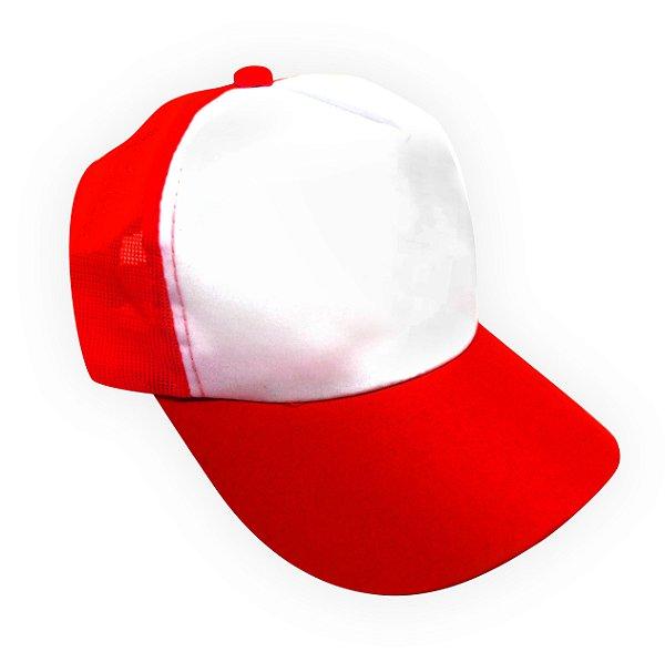 Boné Americano Cabeça frente Branca para Sublimação com Aba e Tela Vermelha em Microfibra Adulto (844) - 01 Unidade