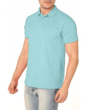 Camisa Modelo Polo 100% Poliéster Azul Claro para Sublimação - 01 Unidade