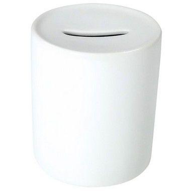 Cofrinho de Moedas Cerâmica Branca Resinada P/ Sublimação (B037) - 36 Unidades (Caixa Fechada)