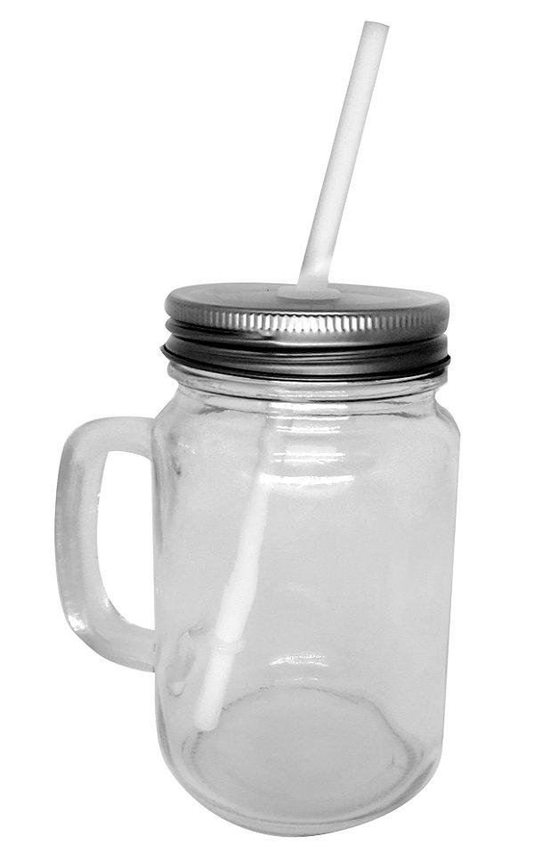 Caneca Mason Jar Com Tampa e Canudo Cor Branco Estilo Jarra em Vidro  475ml Resinada para Sublimação (1959) - 01 Unidade