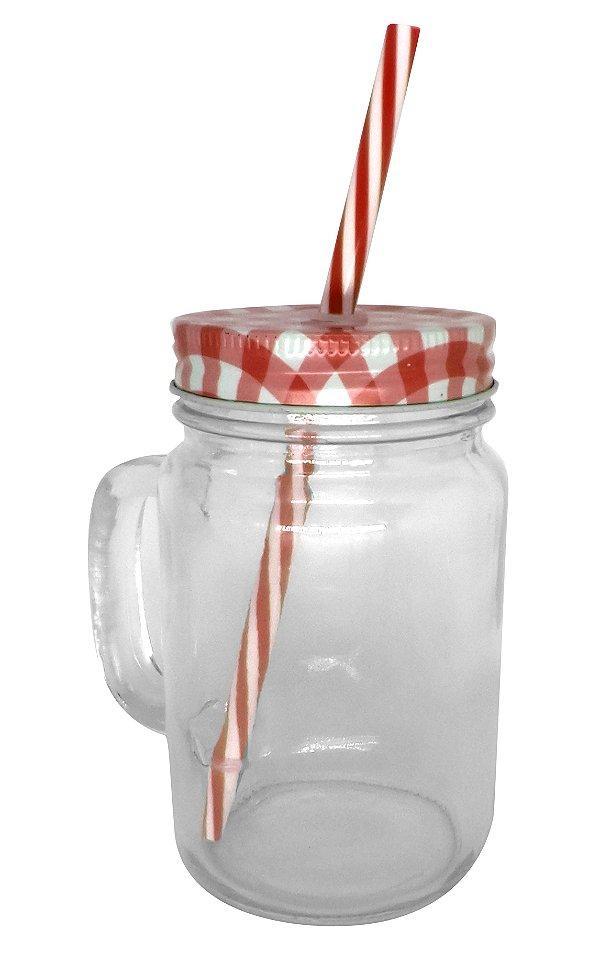 Caneca Mason Jar Com Tampa e Canudo Cor Vermelho Estilo Jarra em Vidro  475ml Resinada para Sublimação (2092) - 01 Unidade