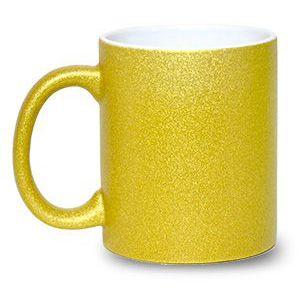 Caneca Cerâmica Glitter Dourado ShopVirtua3000® 325ml Resinada P/ Sublimação (1996) - 36 Unidades (Caixa Fechada)