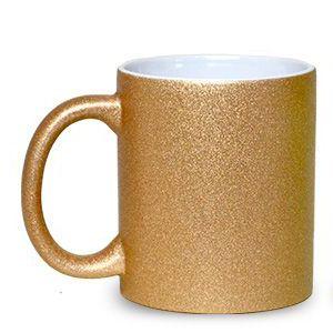 Caneca Cerâmica Glitter Bronze ShopVirtua3000® 325ml Resinada P/ Sublimação (1998) - 36 Unidades (Caixa Fechada)