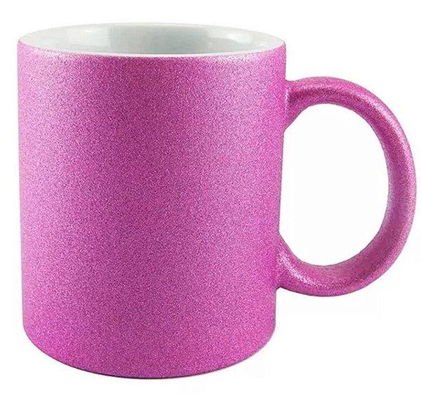 Caneca Cerâmica Glitter Pink ShopVirtua3000® 325ml Resinada P/ Sublimação (1999) - 36 Unidades (Caixa Fechada)