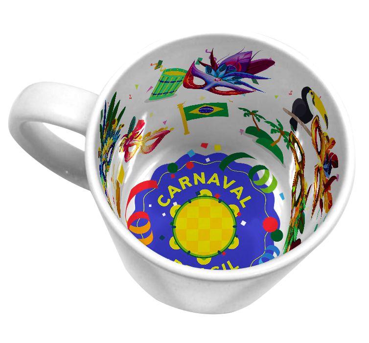 Caneca Cerâmica 325 ml Branca Motto Mug - Carnaval ShopVirtua3000® (21007) - 36 Unidades (Caixa Fechada)