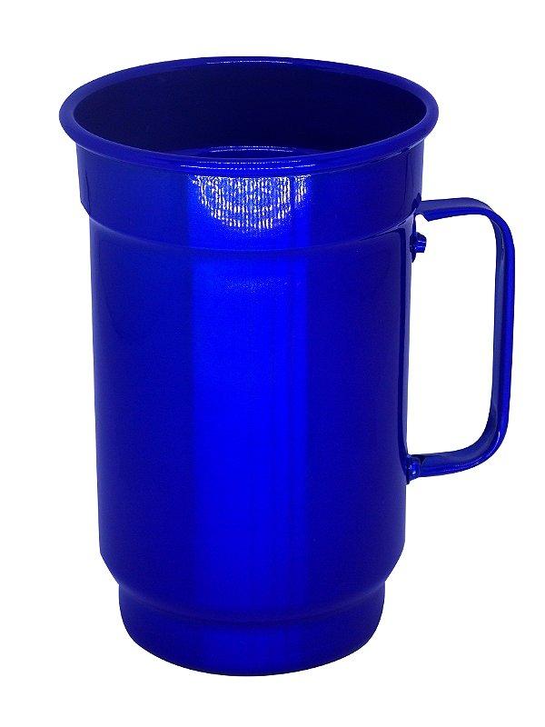 Caneca de Alumínio Linha Luxo Design Colorido para Transfer e Silk Brilhante Cor Azul 750ml - 01 Unidade (AL4070)