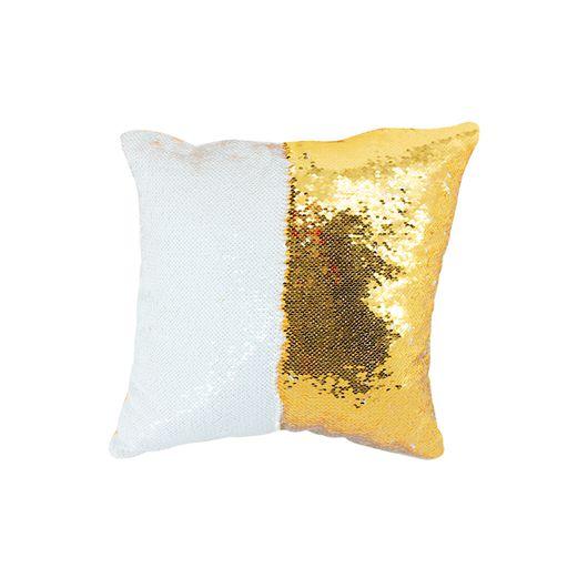 Capa de Almofada de Lantejoulas Mágicas Dupla Face Dourada e Branca Sublimáticas - 40x40cm ShopVirtua3000® (2196)