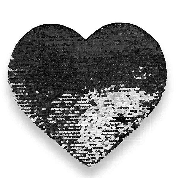 OBM - Aplique de Lantejoulas Dupla Face Coração 19 X 22cm Preto e Branco Sublimáticos ShopVirtua3000® (2172)