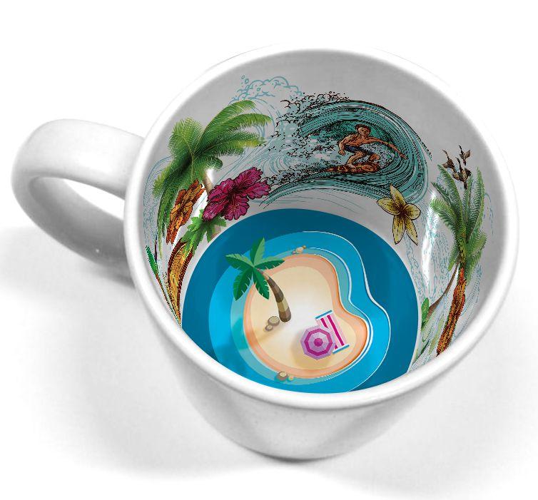 Caneca Cerâmica 325 ml Branca Motto Mug - Verão Tropical ShopVirtua3000® (2110) - 01 Unidade