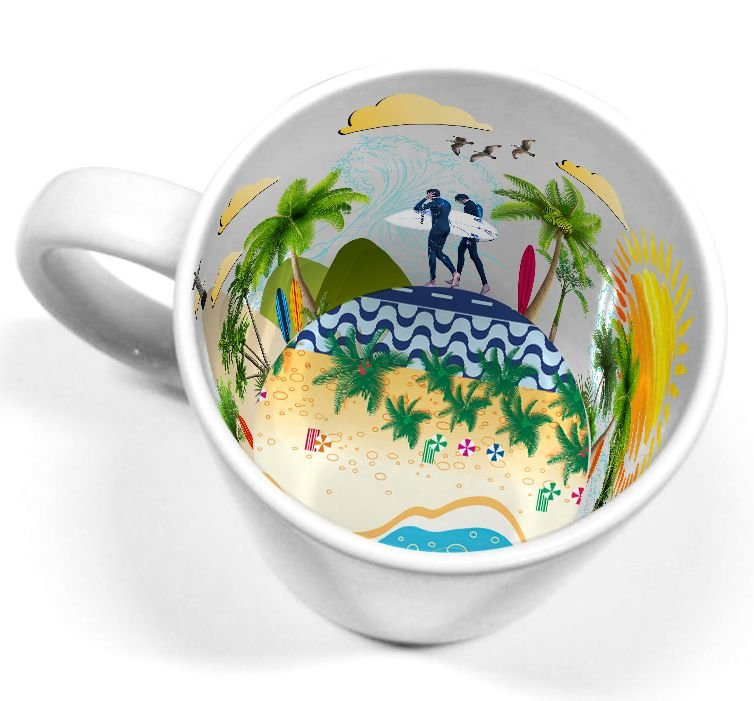 Caneca Cerâmica 325 ml Branca Motto Mug - Copacabana ShopVirtua3000® (2111) - 36 Unidades (Caixa Fechada)