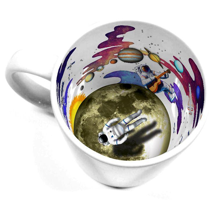 Caneca Cerâmica 325 ml Branca Motto Mug Resinada P/ Sublimação - Astronauta ShopVirtua3000® (2112) - 36 Unidades (Caixa Fechada)