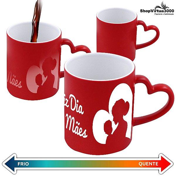 Caneca Cerâmica Mágica Vermelha C/Alça de Coração 325ml Personalizada Feliz dia das Mães - 01 Unidade