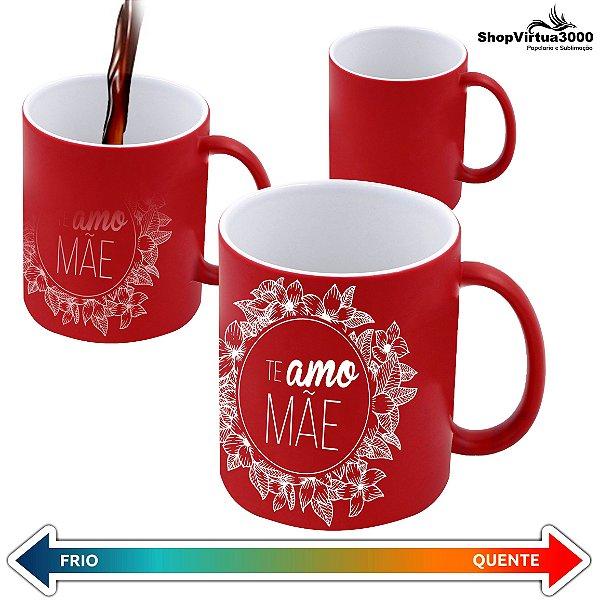 Caneca Cerâmica Mágica Vermelha Com Brilho 325ml Personalizada Te amo Mãe Brasão Floral - 01 Unidade