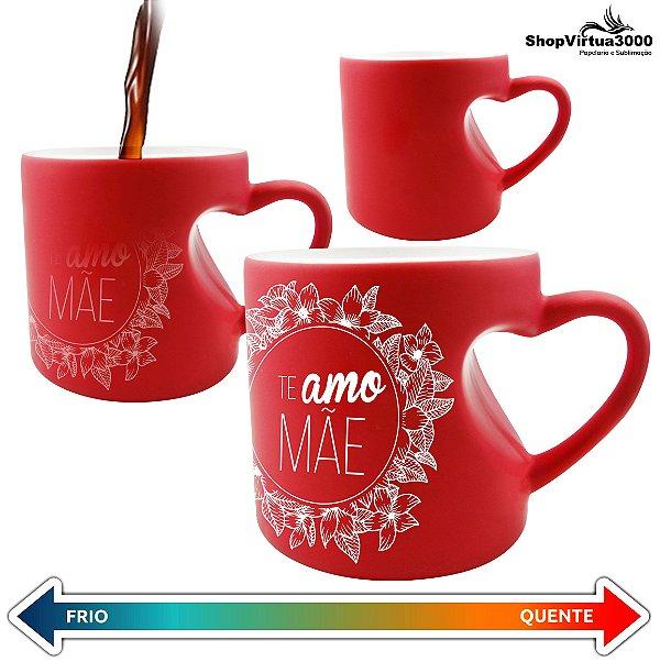 Caneca Cerâmica Mágica Vermelha Formato de Coração 325ml Personalizada Te amo Mãe Brasão Floral - 01 Unidade