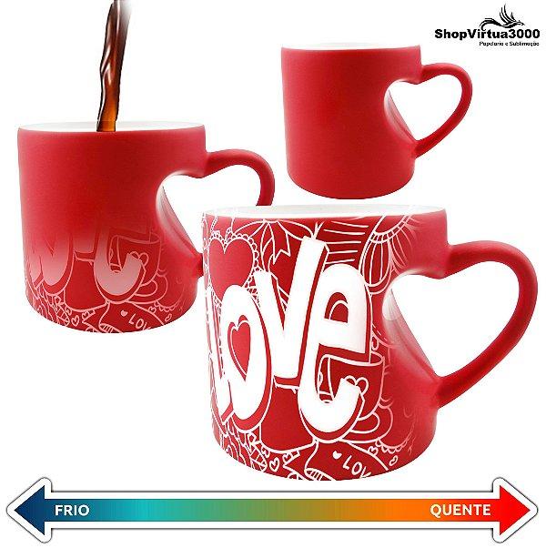 Caneca Cerâmica Mágica Vermelha Formato de Coração 325ml Personalizada LOVE - 01 Unidade