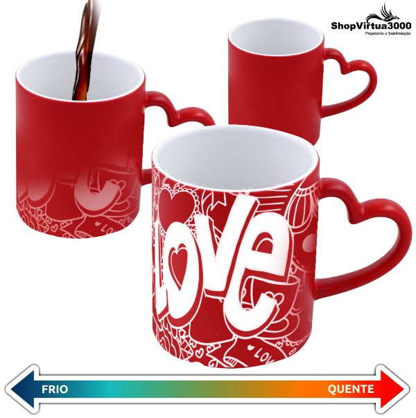 Caneca Cerâmica Mágica Vermelha C/Alça de Coração 325ml Personalizada LOVE - 01 Unidade