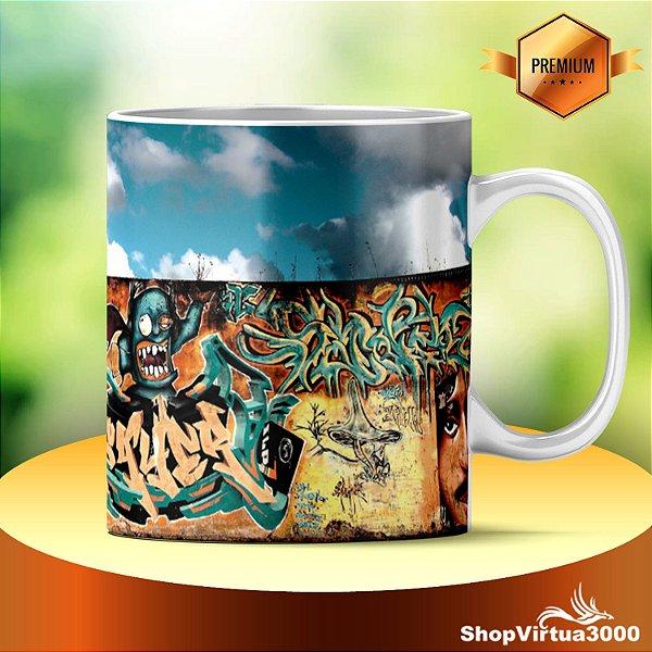 Caneca Cerâmica Classe +AAA Personalizada Parede de Graffiti - 01 Unidade