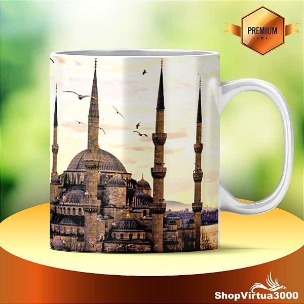 Caneca Cerâmica Classe +AAA Personalizada Mesquita do Sultão Ahmed Istambul Turquia - 01 Unidade