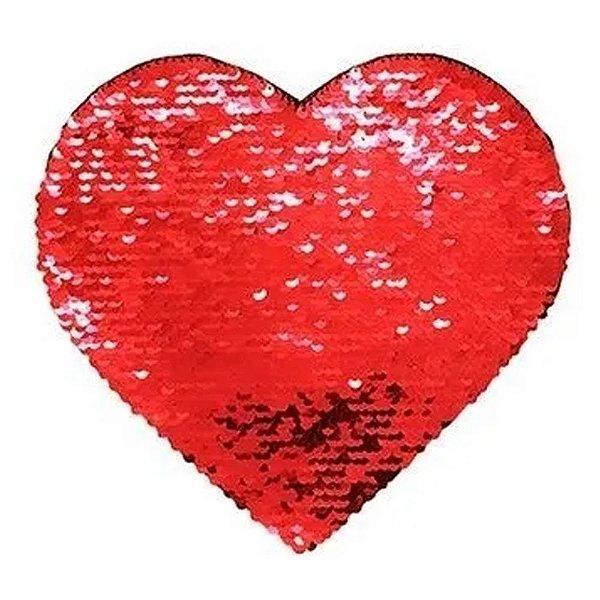 Aplique de Lantejoulas Dupla Face Coração 19 X 22cm Vermelho e Branco Sublimáticos ShopVirtua3000® (2170) - 01 Unidade