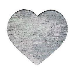 Aplique de Lantejoulas Dupla Face Coração 19 X 22cm Prata e Branco Sublimáticos ShopVirtua3000® (2173)