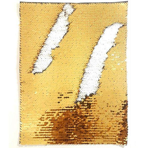 Aplique de Lantejoulas Dupla Face Retangular 21 X 28cm Dourado e Branco Sublimáticos ShopVirtua3000® (2182)