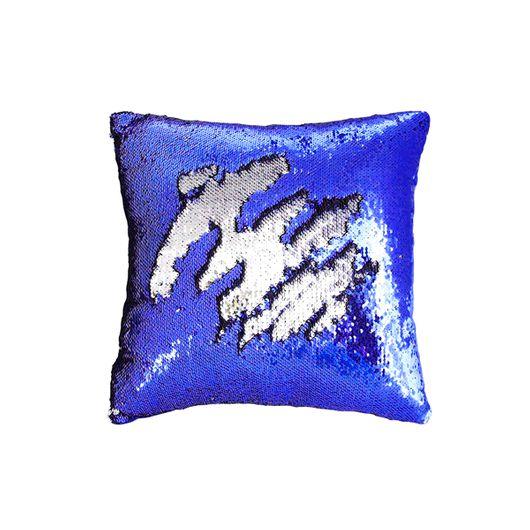 Capa de Almofada de Lantejoulas Mágicas Dupla Face Azul Royal e Branca - 40x40cm ShopVirtua3000 (C133)