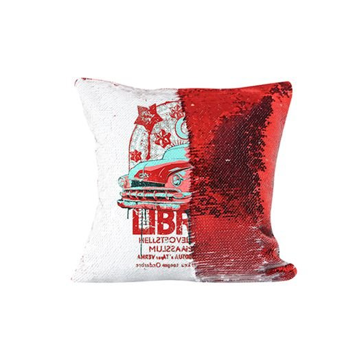 Capa de Almofada de Lantejoulas Mágicas Dupla Face Vermelha e Branca - 40x40cm ShopVirtua3000® (2195)