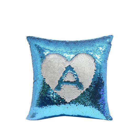 Capa de Almofada de Lantejoulas Mágicas Dupla Face Azul Claro e Branca - 40x40cm ShopVirtua3000® (2187)