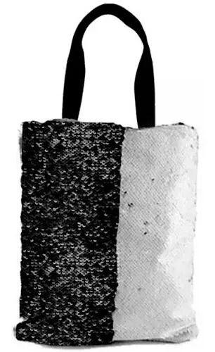 Bolsa Asa Dupla de Lantejoulas Mágicas Dupla Face Preta e Branca - 35x38cm (2363)