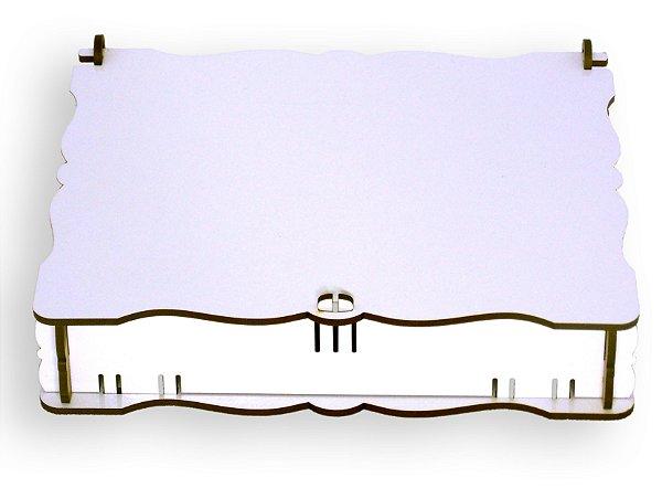 Caixinha de Presente Vintage Mdf 3mm Branco Retangular 22X16x3,5cm Resinado para Sublimação Ultra Brilho com Caixinha Protetora (PH008) - 01 Unidade