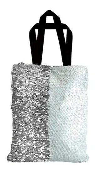 Bolsa Asa Dupla de Lantejoulas Mágicas Dupla Face Prata e Branca - 35x38cm (2367)