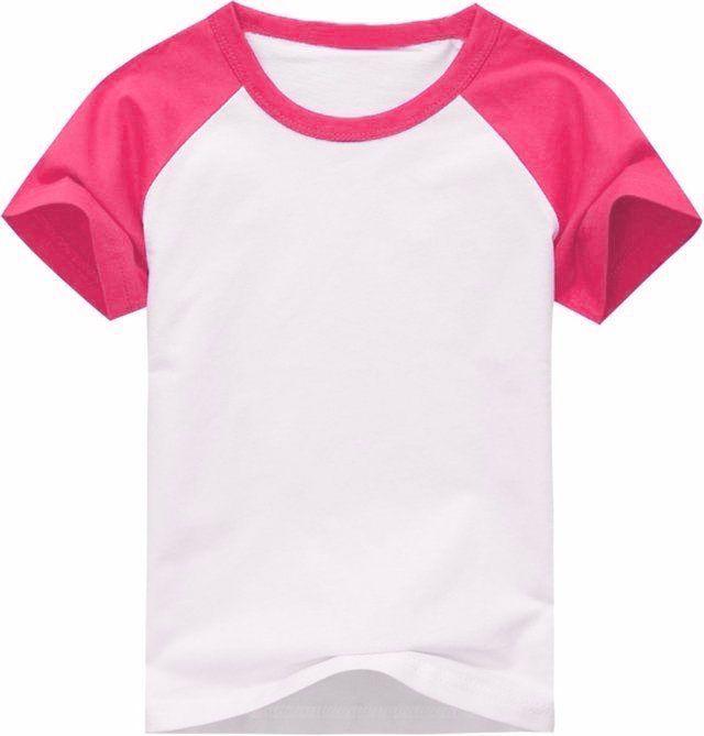 Camiseta Infantil Gola Redonda Manga Curta Modelo Raglan Rosa com Corpo Branco 100% Poliéster para Sublimação (10 Anos) - 01 Unidade (Dia das Crianças)