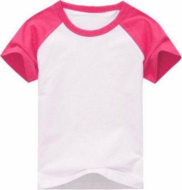 Camiseta Infantil Gola Redonda Manga Curta Modelo Raglan Rosa com Corpo Branco 100% Poliéster para Sublimação (14 Anos) - 01 Unidade (Dia das Crianças)