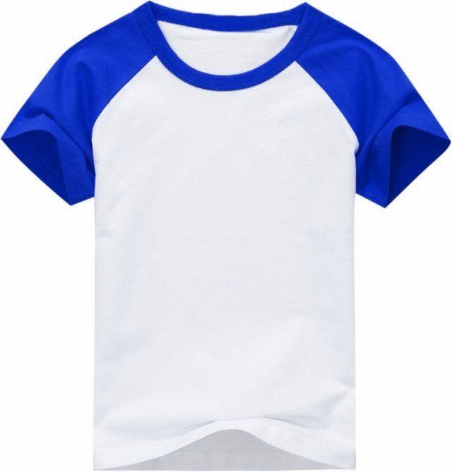 Camiseta Infantil Gola Redonda Manga Curta Modelo Raglan Azul com Corpo Branco 100% Poliéster para Sublimação (14 Anos) - 01 Unidade (Dia das Crianças)