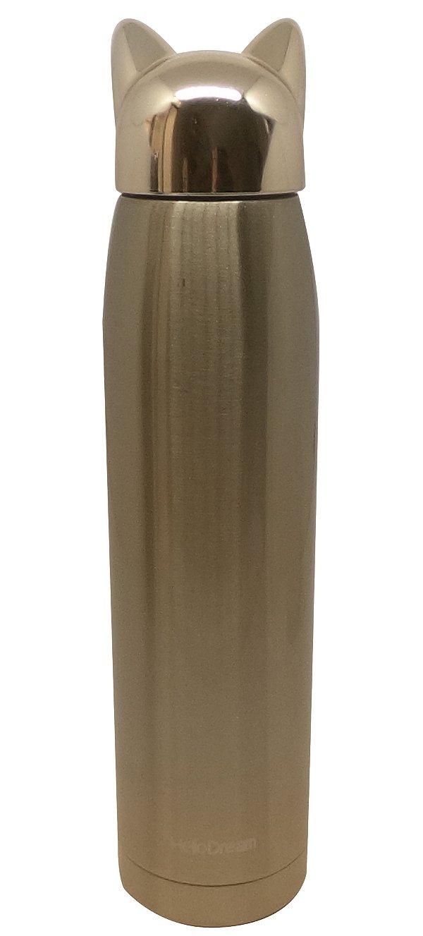 Garrafa Térmica Linha Luxo Crazy Cat em Inox Sublimável Dourado 320ml (ShopVirtua3000®) (2069) - 01 Unidade