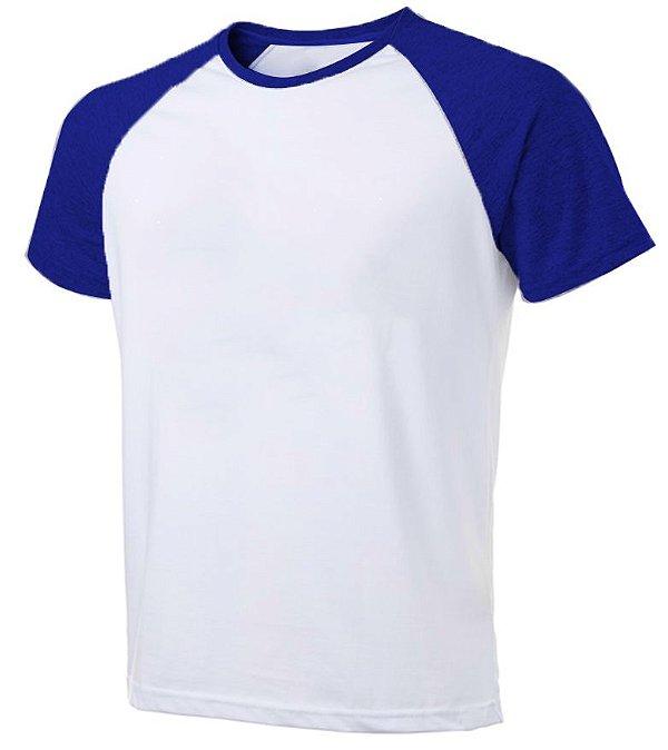 Camiseta Masculina Gola Redonda Manga Curta Modelo Raglan Azul Royal com Corpo Branco 100% Poliéster para Sublimação - 01 Unidade