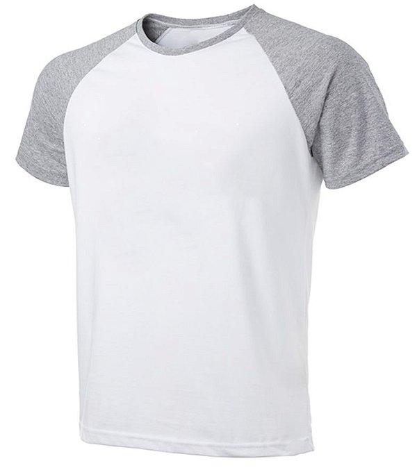 Camiseta Masculina Gola Redonda Manga Curta Modelo Raglan Cinza Mescla com Corpo Branco 100% Poliéster para Sublimação - 01 Unidade
