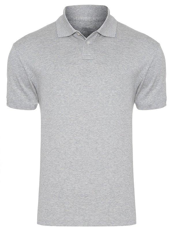 Camisa Modelo Polo 50% Algodão e 50% poliéster Cinza Mescla para Transfer Silk - 01 Unidade