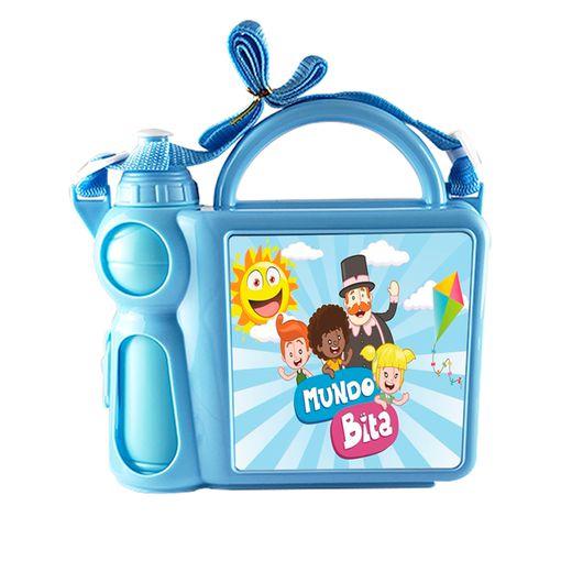 Lancheira Infantil Mala com Alça Regulável e Garrafa em Plástico Azul com Placa de Metal Sublimática (2035) - 01 Unidade (Dia das Crianças)