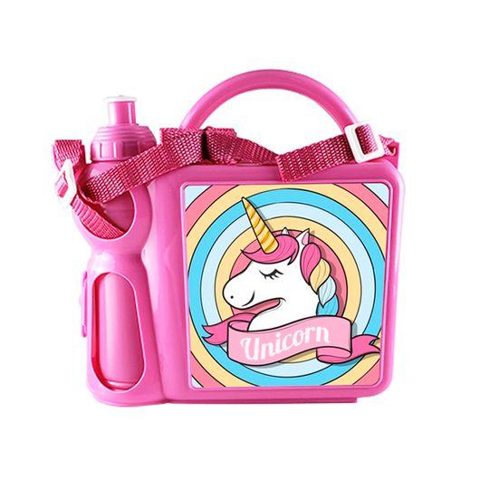 Lancheira Infantil Mala com Alça Regulável e Garrafa em Plástico Rosa com Placa de Metal Sublimática (2036) - 01 Unidade