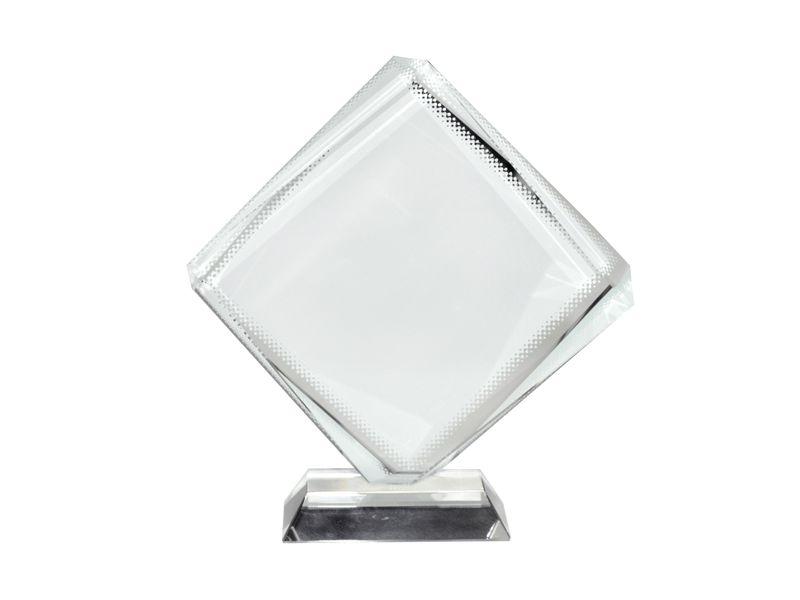 Ornamento de Vidro Formato OCTAEDRO 12 x 12 Cm Cristal para Sublimação (2132) -  01 Unidade