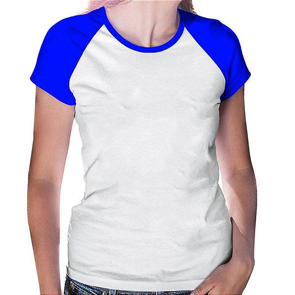 Camiseta Feminina Gola Redonda Baby Look Manga Modelo Raglan Azul Royal com Corpo Branco 100% Poliéster para Sublimação - 01 Unidade