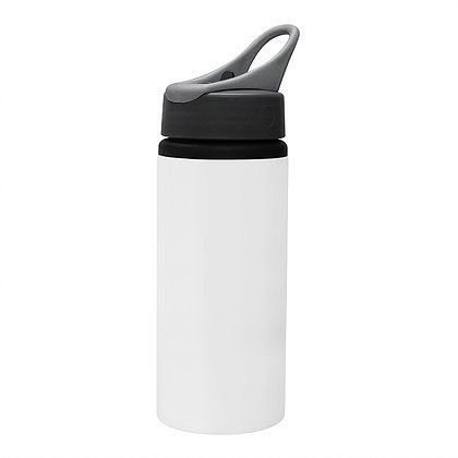 Squeeze Branco 600ml em Alumínio C/bico retrátil e tampa Modelo Wave P/Sublimação (ShopVirtua3000®) (1098) - 60 Unidades (Caixa Fechada)