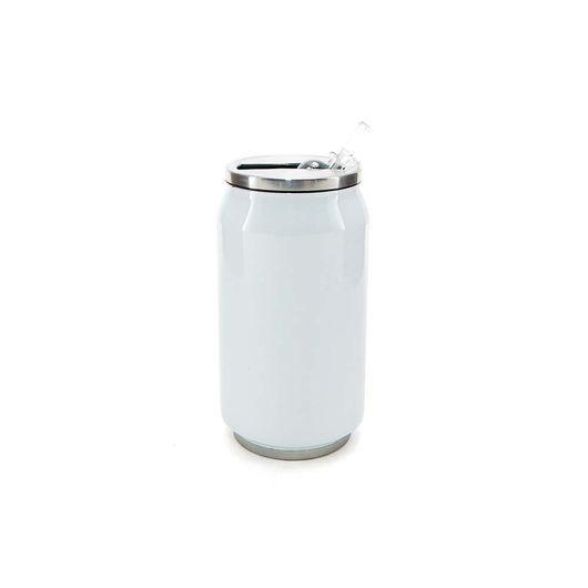 Latinha Coca-cola em Aço Inox Branca 350 Ml C/ Canudo (2117) - 01 Unidade