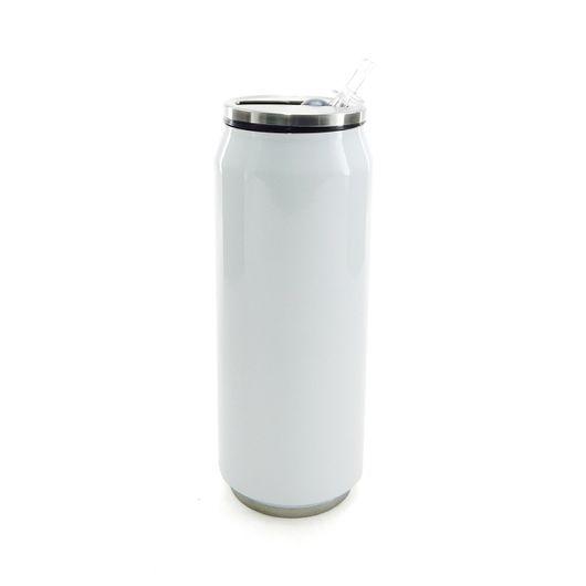 Latinha Coca-cola em Aço Inox Branca 500 Ml C/ Canudo (2317) - 01 Unidade