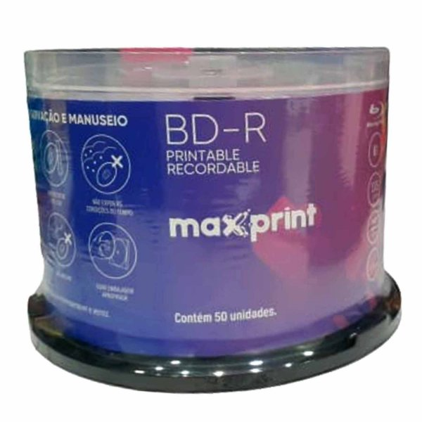 Maxprint Blu-ray 25gb 6x Printable Lacrado BD-R - 50 Unidades