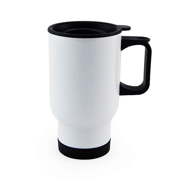 Caneca Térmica de Aço Inox Estilo Travel Mug - 450 ML - Branca (2530) - 01 Unidade