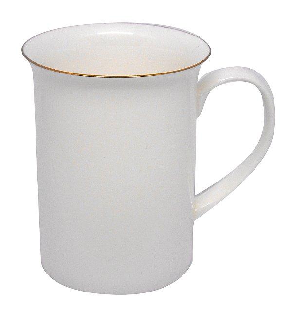 """Caneca Porcelana 295 Ml Branca Modelo """"apolo"""" Borda Ouro - (2621) - 01 Unidade"""